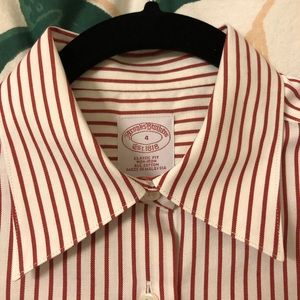 Brooks Brothers red white stripe button down small
